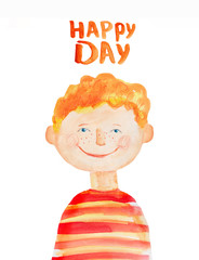 boy in red striped t-shirt. Watercolor. Hand drawing.