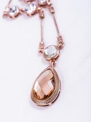 drop shape necklace with zircon and quartz