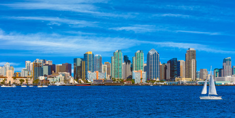 Skyscrapers of San Diego Skyline, waterfront and harbor, CA(P)