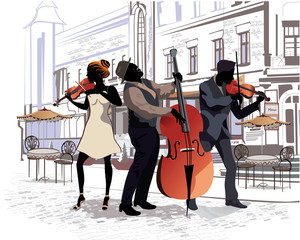 Series of street views with musicians