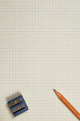 pencil, sharpener and sheet