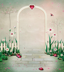 Background or illustration with Arch and flowers