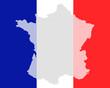 Karte und Fahne von Frankreich