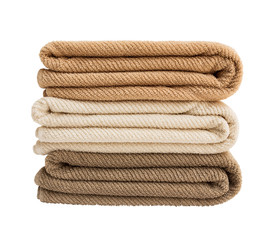 Bath towels in stack isolated over white