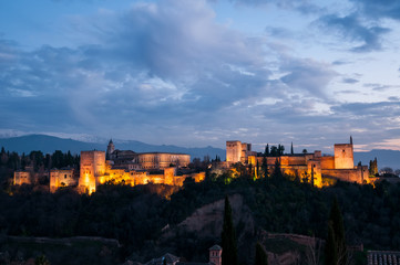 Evening view of ancient arabic fortress of Alhambra, Spain