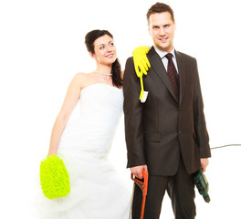 Housework concept and married couple.