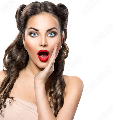 Surprised retro woman. Beauty vintage excited girl over white © Subbotina Anna