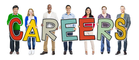 Group of People Standing Holding Careers Letter Concept