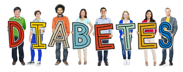 Multi-Ethnic Group People Holding Text Diabetes Concepts