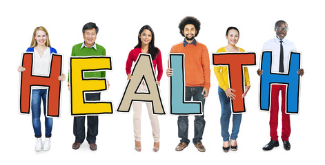 Group People Standing Holding Health Concept