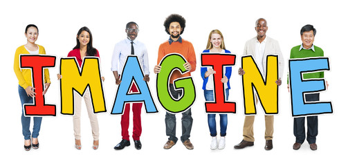 Group of Diverse People Holding Imagine Concept