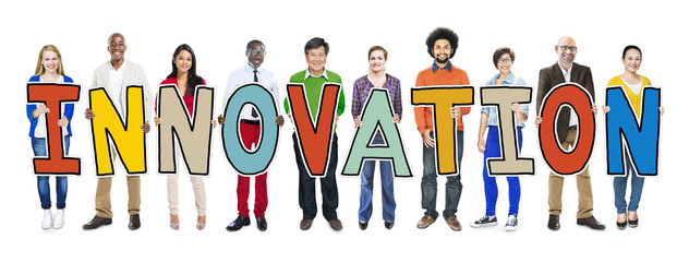 Diverse People Holding Text Innovation Concept