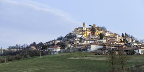 Monferrato, typical village at sunrise, wintertime. Color image