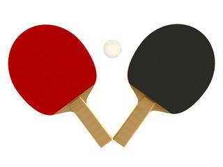 ping pong, tennis racket and ball