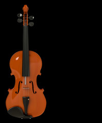 violin on a black background