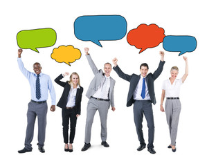 Business People Holding Colourful Speech Bubbles Concept
