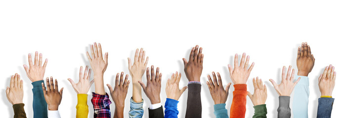 Group Multiethnic Diverse Hands Raised Concept
