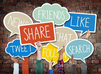 Hands Holding Speech Bubbles Social Media Word Concept