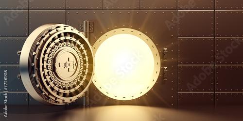 Leinwanddruck Bild Open vaulted gold door