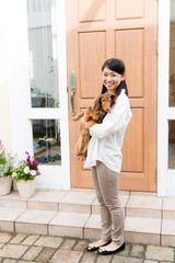 asian woman and dog lifestyle image