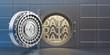 """Leinwanddruck Bild - Open vaulted steel door with """"DATA"""" inside the vault"""
