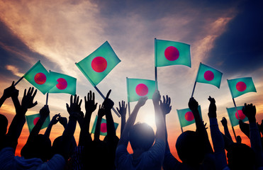 Silhouettes People Holding Flag Bangladesh Concept