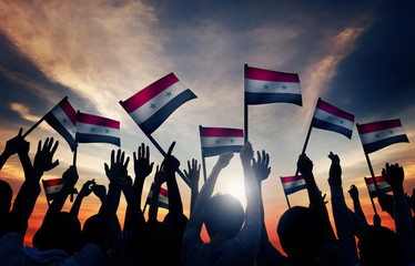 Group People Waving Flag Syria Back Lit Concept