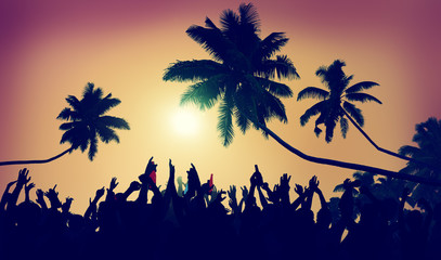 Adolescence Summer Beach Party Outdoors Community Concept