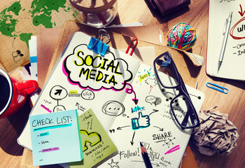 Social Media Ideas Designer Desk Architectural Tools Concept