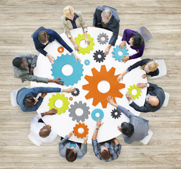 Group Diverse Business People Meeting Gears Concept