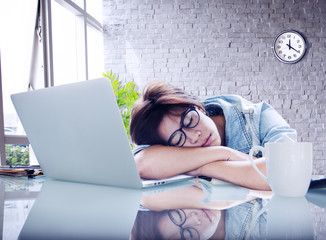 Businesswoman Sleeping Office Worker Break Digital Concept