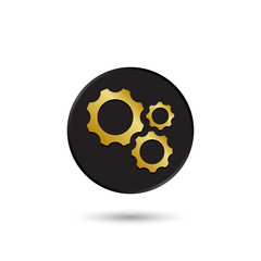 Simple gold on black different size gears icon, logo