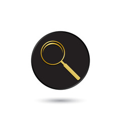 Simple gold on black magnifying glass icon, logo