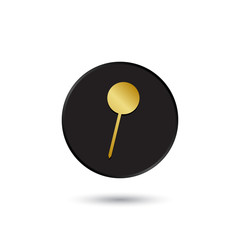 Simple gold on black pushpin icon, logo