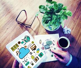 Businessman Cloud Computing Digital Devices Working Concept