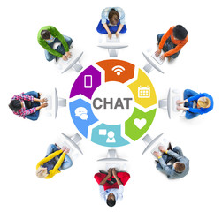 Diverse People Circle Using Computer Chat Concept