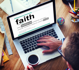 Man Reading Definition Faith Believe Trust Concept
