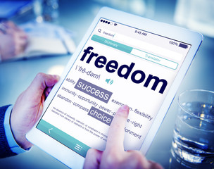 Man Reading Definition Freedom Tablet Searching Concept