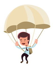 Golden parachute businessman illustration cartoon character