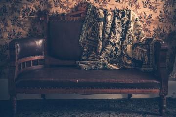 Vintage Sofa and Vintage Blanket