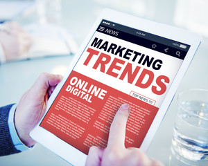 Businessman Searching Marketing Trends Online Digital Concept