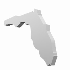 Florida 3D map in white