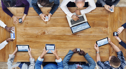 Group of Business People Using Digital Devices Concept