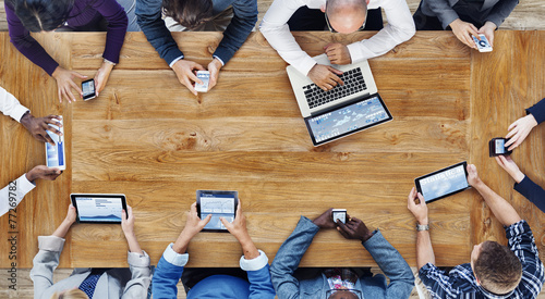 Group of Business People Using Digital Devices Concept - 77269782