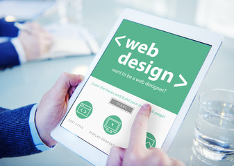 Businessman Web Design Digital Devices Searching Concept