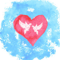 watercolor heart and stains with doves