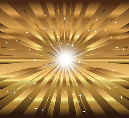star, ray with lens flare golden background