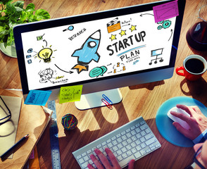 Start Up Business Launch Success Device Browsing Concept