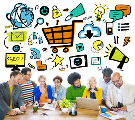 Diversity Casual People Online Marketing Brainstorming Concept