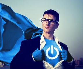 Strong Superhero Businessman Start Concept